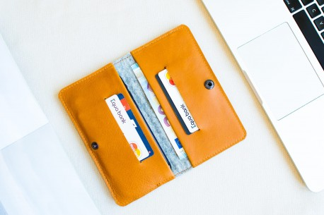 Kožená peněženka na iPhone X, 8, 7 // ENTRY (Brown)
