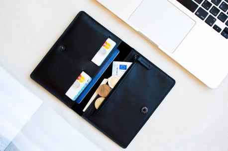 Kožená cestovní peněženka // CLIMB (Black)