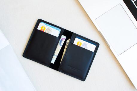 Leather pocket wallet // STAFF (Black)