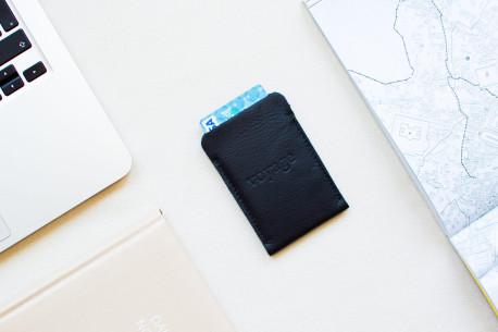 Leather pocket wallet // BORT (Black)