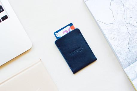 Leather pocket wallet // BORT (Blue)