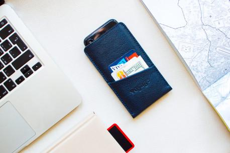 iPhone leather sleeve // PELTA Plus (Blue)