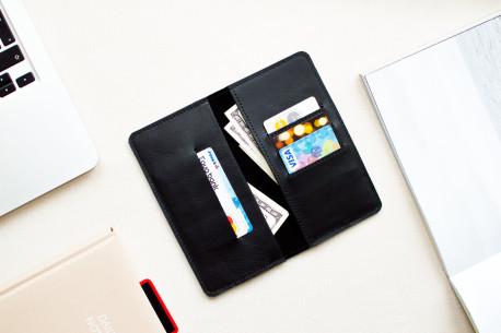 Kožená peněženka na iPhone Xs, Xr & Xs Max // HANK (Black)