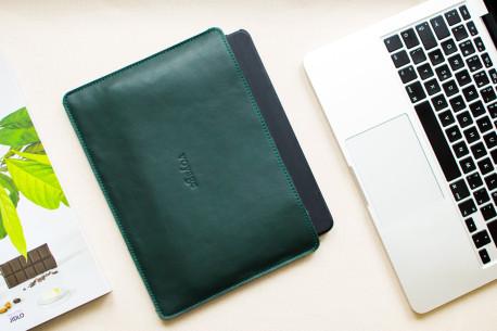 "Leather sleeve iPad 11"",10.5"",12.9"" // SLIM (Green)"