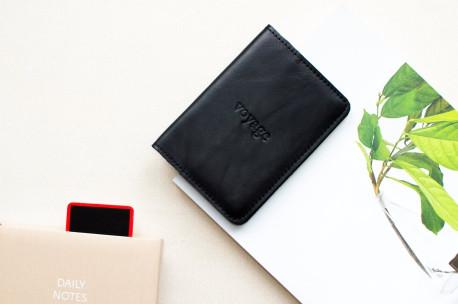 Kožený obal na cestovní pas // TRAVEL (Black)