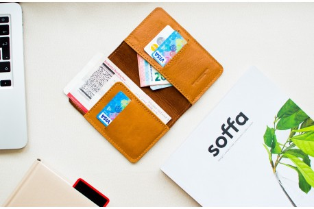 Leather travel wallet // LAND (Brown)