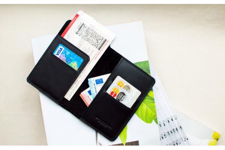 Leather travel wallet // LAND (Black)