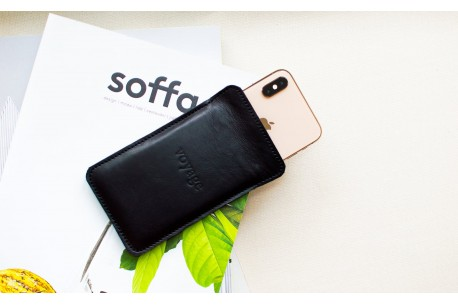 iPhone Xs, Xr & Xs Max leather sleeve // LAPORT (Black)
