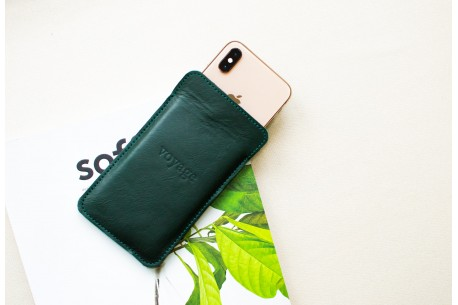 Kožený obal na iPhone Xs, Xr & Xs Max // LAPORT (Green)