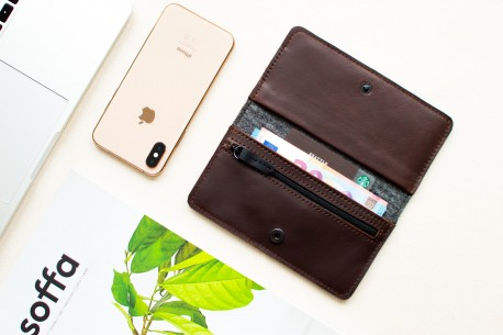 iPhone XS, XR & XS MAX leather wallet // SEVEN (Coffee)
