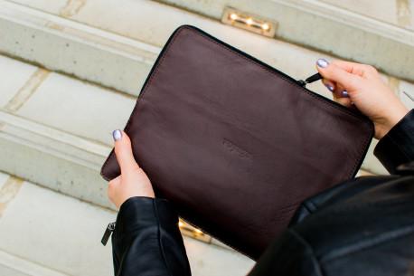 Leather MacBook folio // SAFE (Coffee)