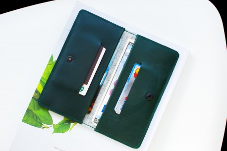 Kožená peněženka na iPhone Xs, Xr, Xs Max // ENTRY (Green)
