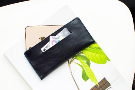 iPhone leather sleeve // SLIM (Blue)