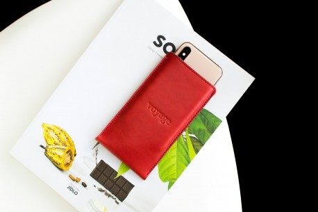 iPhone leather sleeve // PELTA (Red)