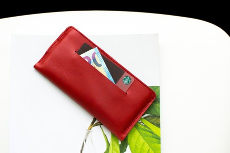 Kožený obal na iPhone 11, Xs & 8 Plus // SLIM (Red)