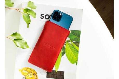 Kožený obal na iPhone 12, 11 Pro & Xs Max // LAPORT (Red)