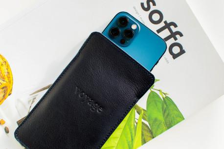 Kožený obal na iPhone 12, 11 Pro & Xs Max // LAPORT (Navy Blue)