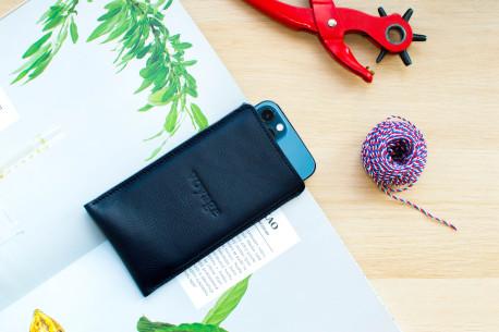 Kožený obal na iPhone 12, 11 Pro & Xs Max // PELTA (Blue)